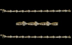 14ct White Gold Superb Baguette And Brilliant Cut Diamond Set Bracelet Fully hallmarked for 14ct,