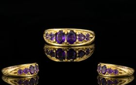 Antique Period - 9ct Gold Six Stone Amethyst Set Dress Ring,