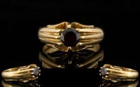 9ct Gold - Single Stone Garnet Dress Ring - Gypsy Setting. Full Hallmark for 9.
