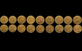 Edward VII - Superb Collection of 22ct Gold Full Sovereigns ( 9 ) 1902 - 1910.