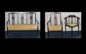 An Edwardian Three Piece Part Salon Suite Comprising two seater bench, corner chair and armchair,