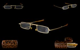 Antique Tortoiseshell Spectacles Hinged Case with Folding Spectacles Within, of Small Proportions.