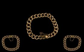 Antique Period Nice Quality 15ct Rose Gold Curb Bracelet - marked 15ct, circa 1900.