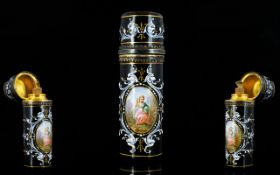 Limoges 19th Century Superb Quality Enamel And Silver Scent Flask Wonderful cylindrical perfume