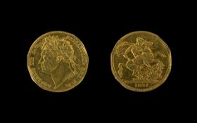 George IV 22ct Gold Full Sovereign Date 1821. Ex-mounted. London Mint. Please see photo.