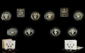 Royal Mint Piedfort Ltd Edition 1984 - 1987 Proof Silver 4 One Pound Coin Set and COA.