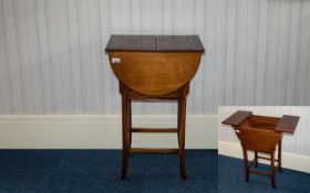 Beechwood Work Box of hinged top construction, raised on square legs with stretchers. Height 29'',