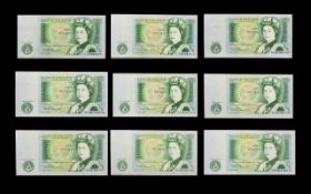 United Kingdom Collection of Nine Mint Condition One Pound Banknotes, Chief Cashier D.H.F. Somerset.