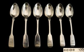Queen Victoria 'Early Period' Set of Six Solid Silver Teaspoons hallmark London 1845 maker EE
