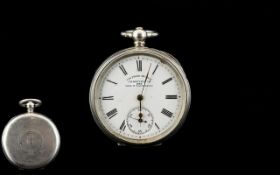 German - Silver Key-wind Open Faced Pocket Watch, Winner of Six Prize Medals for Quality. Marked 800