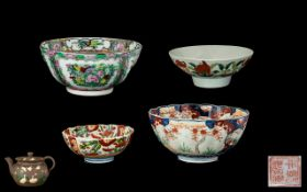A Small Collection Of Oriental Ceramics To include two Imari bowls with fluted edge,