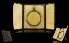 Antique Period Fine Quality Silver and Enamel Circular Miniature Photo / Portrait Frame, Within a