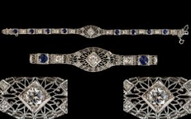 14ct Diamond Sapphire And White Gold Bracelet Art Deco Style bracelet set with central round