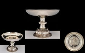 Edwardian Period Superb Quality Sterling Silver Pedestal Bowl Of wonderful form and design; the
