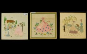 Three Framed Embroidered Panels Polychrome embroidered panels on linen,