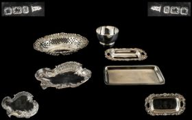 A Small Collection of Modern and Antique Silver Small Dishes / Trays - 5 pieces in total,