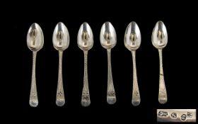 George III - Nice Quality Set of Six Silver Teaspoons by Peter and Ann Bateman.