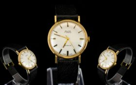 Avia - Incabloc 17 Jewels Gents 1970's 9ct Gold Mechanical Wrist Watch with Attached Original