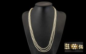 Antique Period - Belle Epoque Stunning Triple Strand Well Matched Pearl Necklace with 9ct Gold