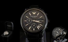 Emporio Armani AR 1452 Gents Black Ceramica Chronograph Wrist Watch.