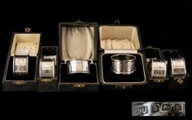 A Collection Of Boxed Silver Napkin Rings Comprising six single boxed napkin rings hallmarks to