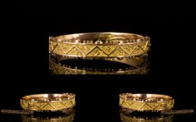 Antique Period Wonderful Quality Ornate 9ct Gold Hinged Bangle with Attached Safety Chain.