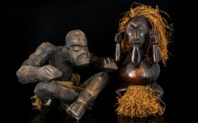 Two Carved Wood Hessian And Coir Figures - Naive Tribal Figures, Each With Aged Patina.
