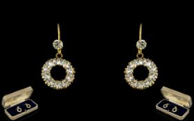 Edwardian Period Attractive Pair of 9ct Gold & Stone Set Earrings.