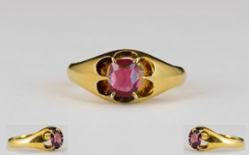 Victorian Period 18ct Gold Nice Quality Single Stone Ruby Ring - gypsy setting.