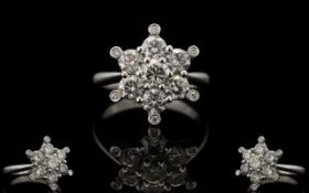 18ct White Gold Bespoke Superb Quality Diamond Set 'Starburst' Cluster Ring Of stunning appearance,