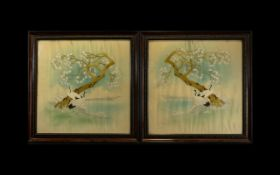 A Pair Of Late 19th/Early 20th Century Embroidered Oriental Panels On Silk Each framed and glazed,