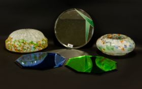 Two 1930's Confetti Glass Ceiling Shades Each of traditional round,