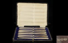 Edwardian Period Boxed Set of Six Silver Handle Butter Knives, All In Very Good Condition.