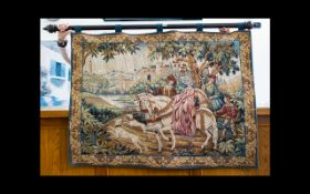 A Machine Woven Tapestry Wall Hanging Tab top jacquard wall hanging depicting medieval hunting