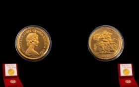 Royal Mint United Kingdom Elizabeth II 22ct Gold Proof Struck Half Sovereign. Mint - FDC Condition.