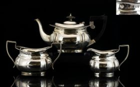 Victorian Period Sterling Silver 3 Piece Bachelors Tea Service Of Good Proportions hallmark