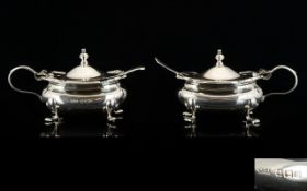 Walker and Hall Pair of Silver Mustard Pots, Complete with Blue Liners and Spoons.