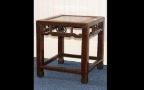 Chinese Antique Occasional Table of typical square form with reticulated apron and square legs.