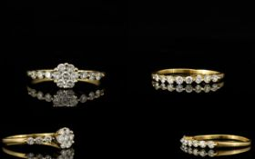 18ct Yellow Gold - Attractive and Well Designed Diamond Set Dress Rings ( 2 ) To be Worn Together.
