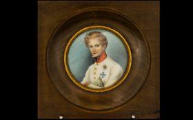 A 19th Century Circular Portrait Miniature Housed in glazed walnut frame,