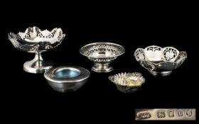 A Small Collection of Hallmarked Silver Dishes / Bowls - of small form, various sizes/shapes.