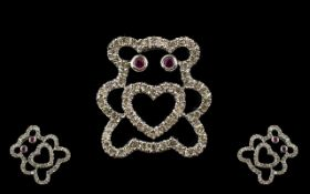 9ct White Gold Diamond And Ruby Set Pendant In The Form Of A Teddybear Fully hallmarked,