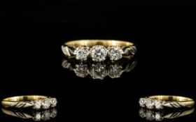 18ct Gold - 3 Stone Diamond Set Dress Ring of Pleasing Form,
