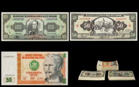 A Collection of South American Bank Notes In Mint Condition ( Uncirculated ) In Consecutive Order.