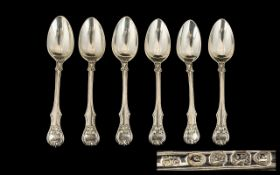 William IV Set of Six Ornate Silver Teaspoons of solid construction. Excellent pattern.