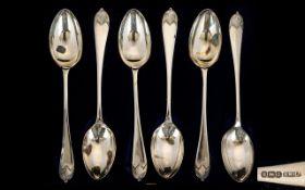 Edwardian Period Boxed Set of Six Silver Teaspoons. Hallmark Sheffield 1907.