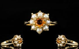 Ladies 9ct Gold - Attractive Fire Opal and Pearl Cluster Ring, Flower head Setting,