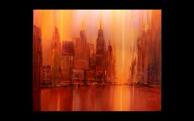 Heinz-Jürgen Menzinger Oil On Canvas, Modernist New York Cityscape, 'Red City'. 32 x 39 Inches.