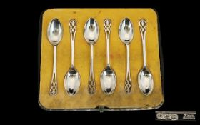 Walker and Hall Pleasing Set of Six Silver Coffee / Liqueur Spoons.