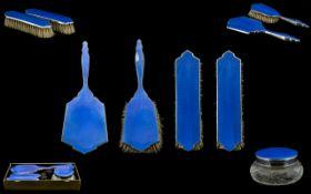 Art Deco Period Blue Guilloche Enamel and White Metal Ladies 5 Piece Vanity Set.